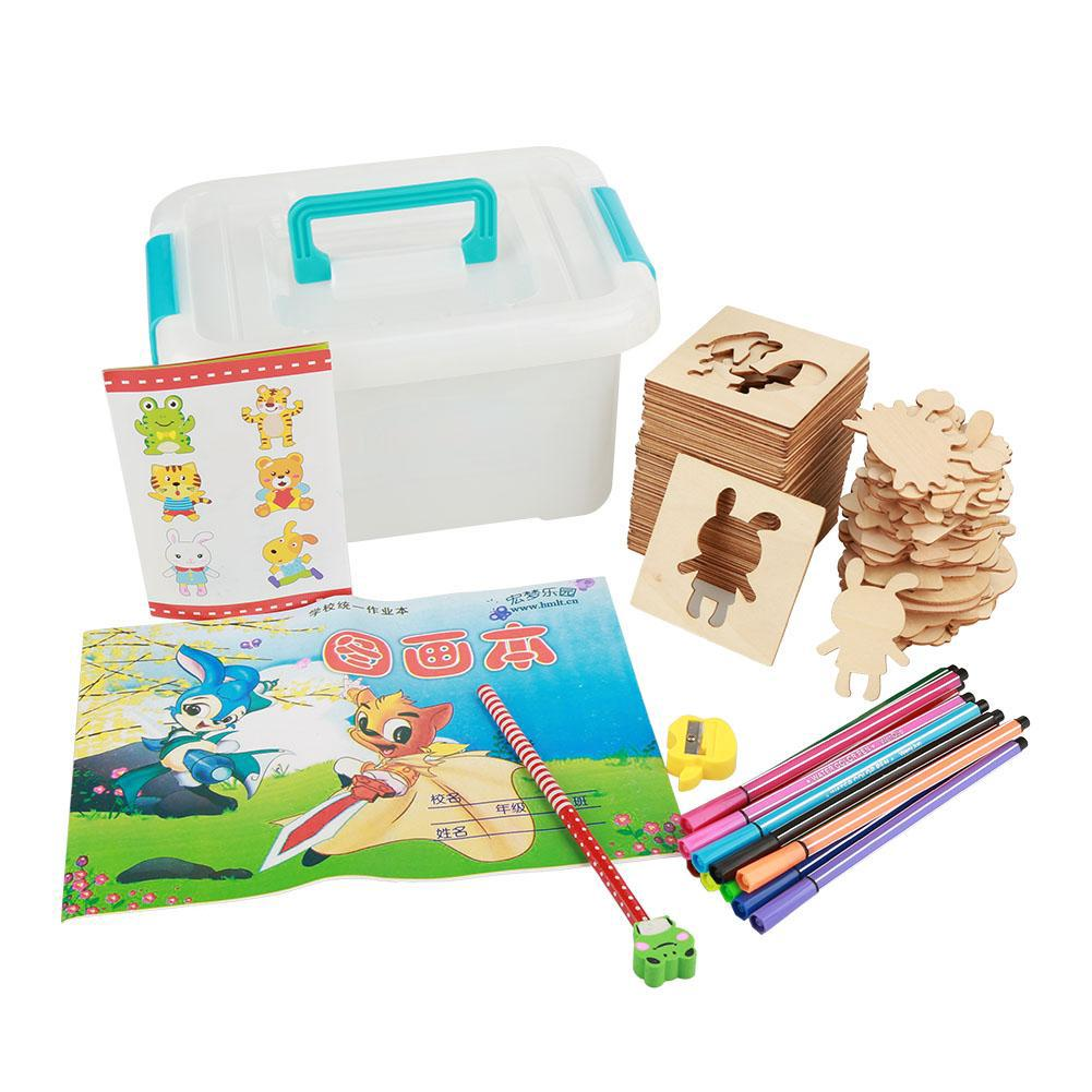 Stylish365 Interesting Children Wooden Painting Toy Set Kids Drawing Learning Early Educational Tool