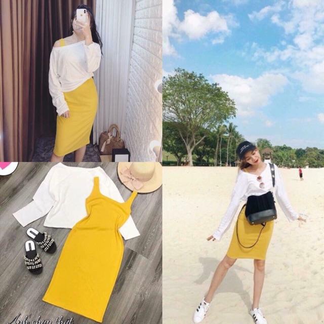1146795718 - Set đầm body vàng+áo thun oversize