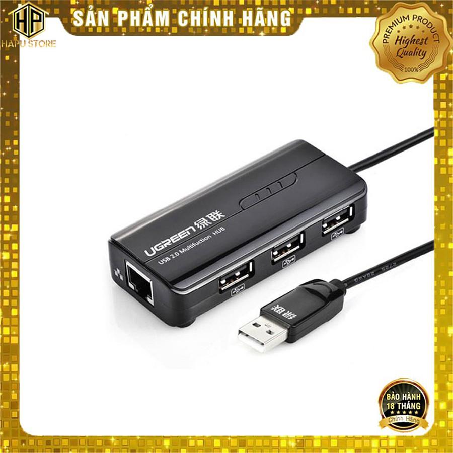 HUB 3 cổng USB 2.0 kèm cổng mạng LAN Ugreen 20264 tốc độ 10/100Mbps - HapuStore