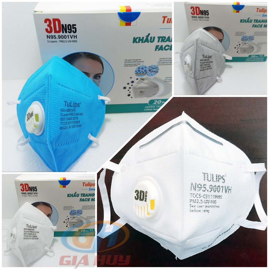 (Chính Hãng) Khẩu trang Tulips 3D N95 Lọc Bụi Siêu Mịn PM2.5 Có Van Thở