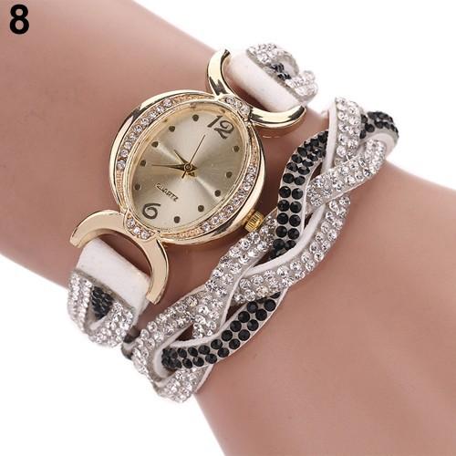 Đồng hồ đeo tay dây da lộn đính đá trang trí dành cho nữ