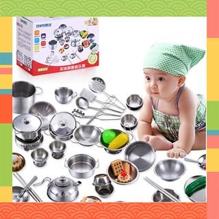 SALE SỐC – Bộ đồ chơi nấu ăn bằng inox 40 món cho bé – Shop Huyền Tít