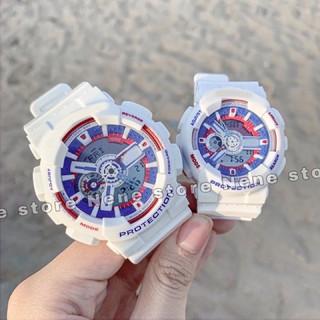 Đồng hồ thể thao nữ BA20 cá tính dây trắng mặt viền xanh đỏ