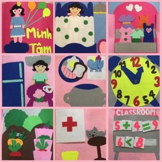 Sách vải handmade chủ đề cuộc sống hàng ngày cho bé gái ( hình thật)