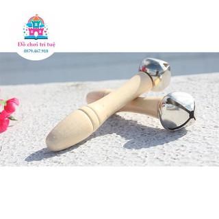 Chuông lắc gỗ đơn an toàn cho bé - Đồ chơi cảm thụ âm nhạc phát triển thính giác thumbnail
