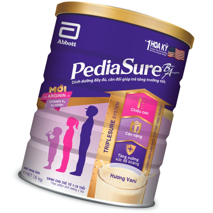 Sữa bột Pediasure 1.6kg hương vani mẫu mới