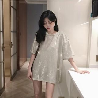 (CÓ SẴN – Kèm ảnh thật) Áo phông nhũ tay lửng cổ tròn màu bạc vàng hồng mùa hè Hàn Quốc ulzzang