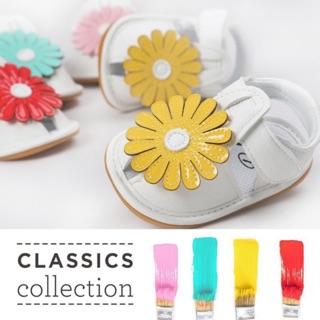 Giày sandal da PU chống trượt họa tiết hoa hướng dương dành cho bé gái mẫu 2020