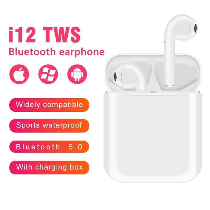 Tai nghe bluetooth 5.0 i12 TWS cảm ứng không dây