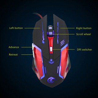 Hxsj Mouse 3200Dpi 6 Button Led Optical Mouse Gaming Mouse