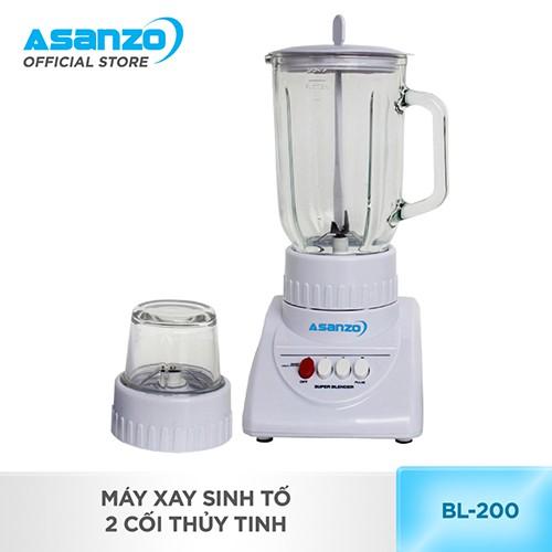 [Nhập ASANZOT7 giảm 10%] Máy xay sinh tố 2 cối thủy tinh Asanzo BL-200 1.25L