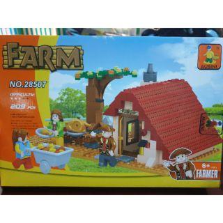 Lego ausini 28507 farm nông trại vui vẻ nhà mái ngói đỏ nông dân đang nướng gà đồ chơi lắp ráp ghép hình thông minh
