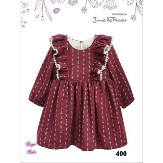 (Ảnh thật + review) Váy / đầm bé gái June & River màu đỏ rượu vang sang chảnh Quà tặng khi mua từ 2 sản phẩm của shop