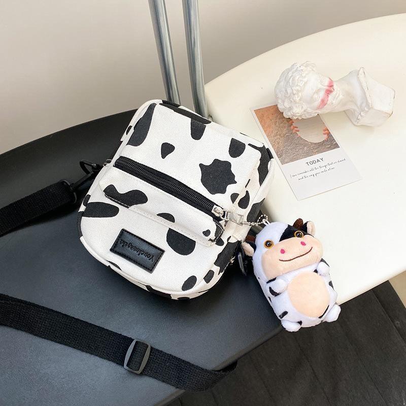 [TẶNG QUÀ XINH] Túi đeo chéo vải canvas mini in hình con bò sữa siêu cute
