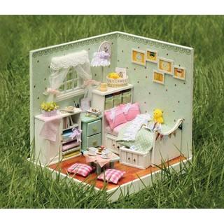 Mô hình nhà búp bê gỗ – Không gian phòng ngủ dành cho hội cuồng xanh lá (N01-A)