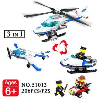 Lego Wange 51013 Lắp Ráp Trực Thăng Police 3 in 1 ( 206 Mảnh )