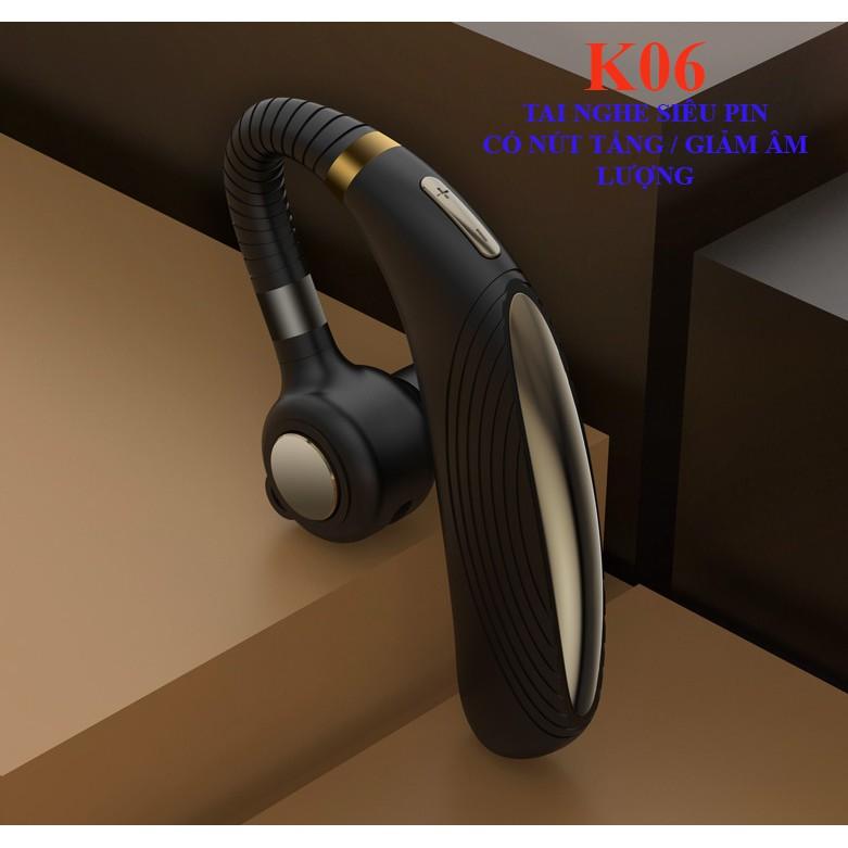Tai phone móc tai K06 PIN TRÂU - CÓ NÚT ĐIỀU CHỈNH ÂM LƯỢNG