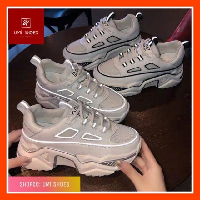 [LOẠI 1+FULL BOX] Giày thể thao nữ Ulzzang phản quang MK 2 màu đơn giản đen trắng dễ phối đồ đế êm cao 6cm vải mềm hot
