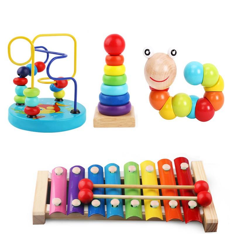 Combo 4 món đồ chơi gỗ Đàn gõ 8 thanh, Sâu gỗ, tháp xếp chồng gỗ cầu vồng, luồn hạt rèn luyện trí tuệ, khả năng tư duy