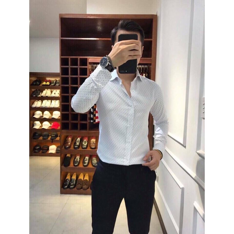 áo sơ mi nam Vettino họa tiết chấm bi cao cấp Cao Cấp