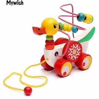 👶🏼Colorful Wooden Pull Walk Along Duck Toy Bead Development Intelligence Gift