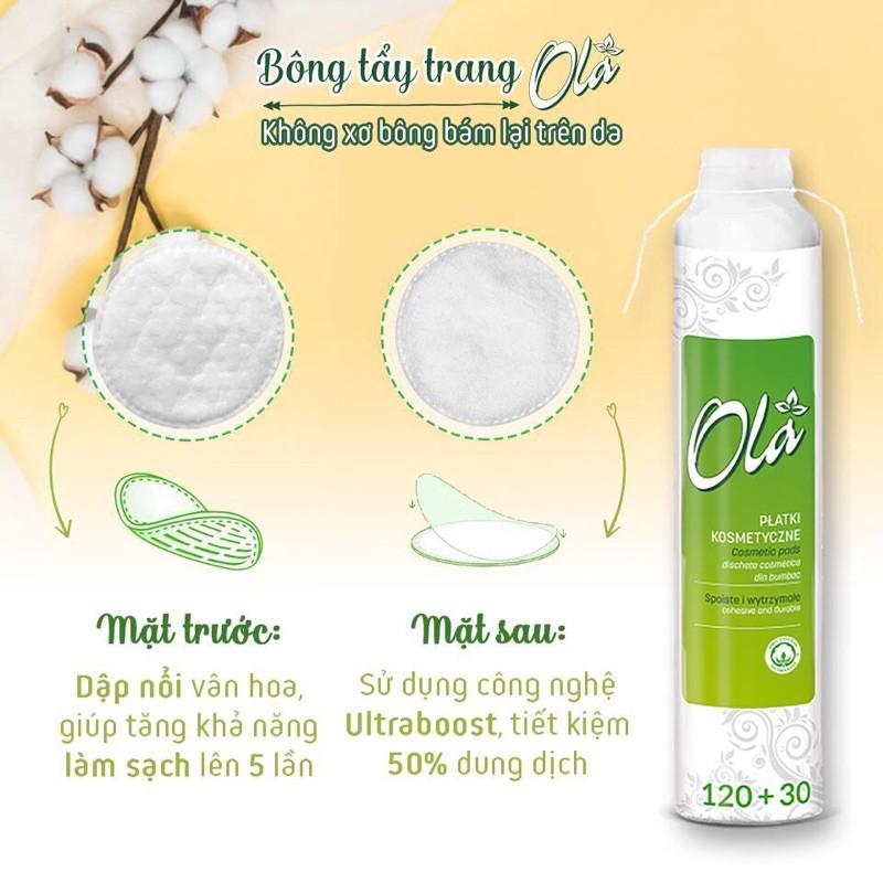 Bông tẩy trang OLA Cotton Pads Ba Lan 120+30 miếng (150 miếng) | Shopee  Việt Nam