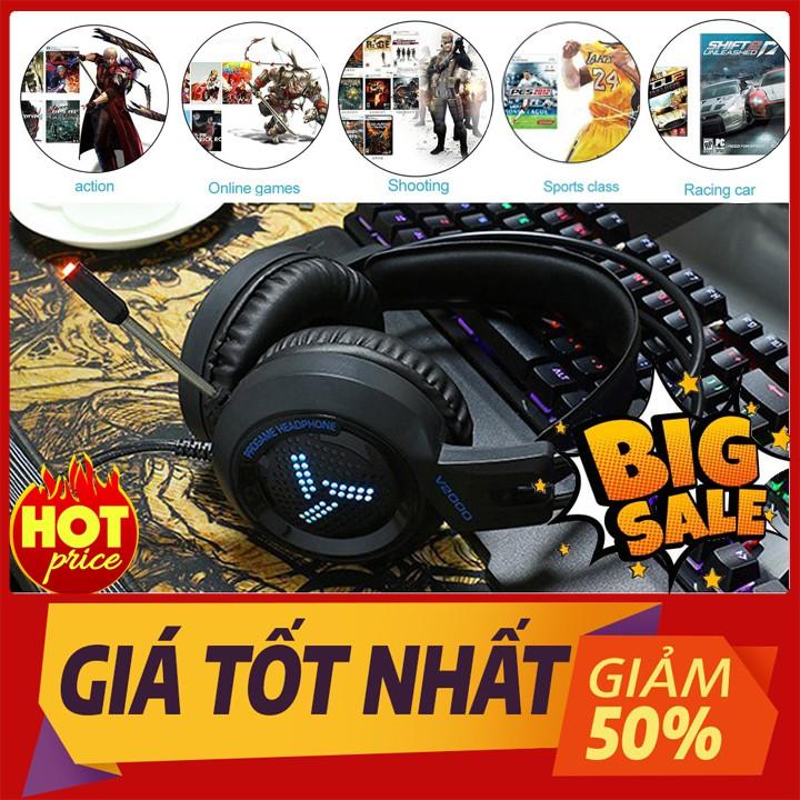 Tai Nghe Gaming Chụp Tai V2000 chuyên phòng Game Có Mic Đàm Thoại ,jack 3.5 ,cổng usb kết nối có đèn led