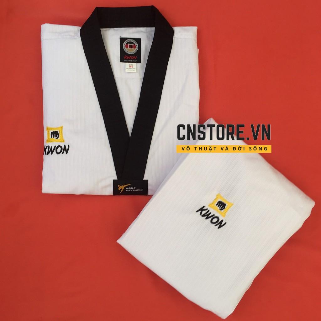 Quần Áo Võ – Võ Phục Taekwondo Cổ Đen Vải Sọc Kwon