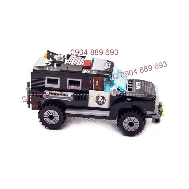 Xếp hình kiểu LEGO xe cảnh sát 190 chi tiết