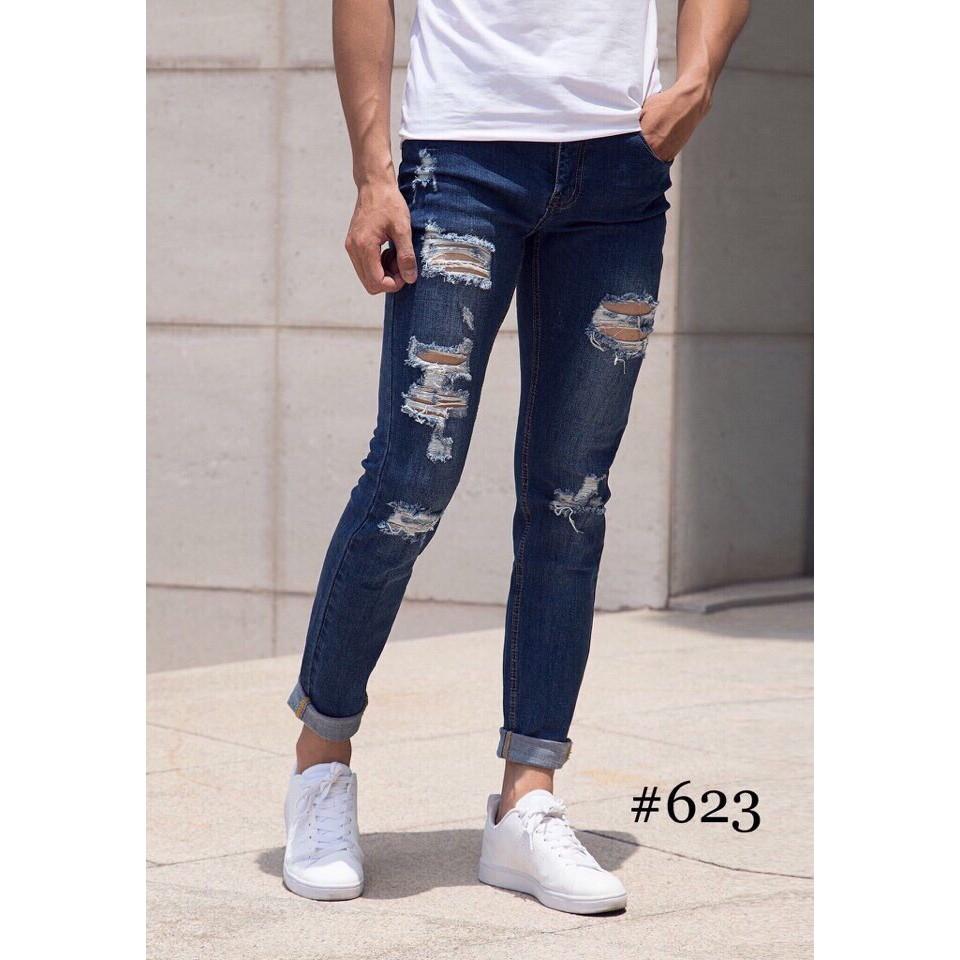 quần jean rách - quần jean nam phong cách Quần Jean