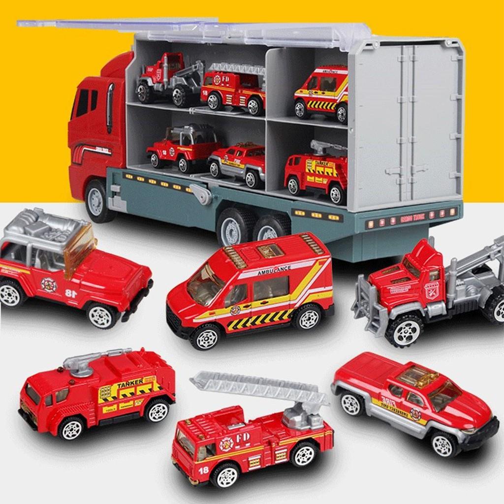 Xe đua đồ chơi + xe tải sáng tạo cho bé – Bộ 6 cái