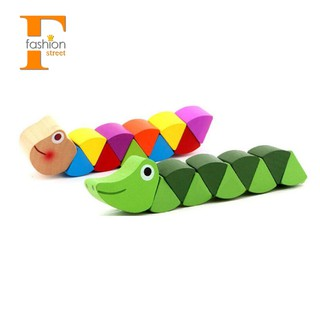 👑Children's Wooden Toys Caterpillars 2Pcs (Green,Color One Each)