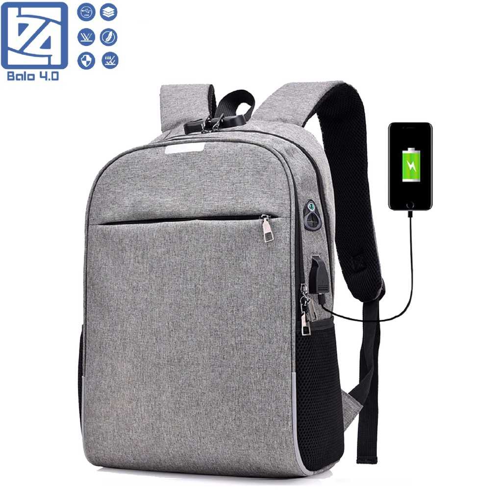 Balo nam nữ thời trang có mã khóa chống trộm, phản quang và cổng USB BALO 4.0 Freeship toàn quốc