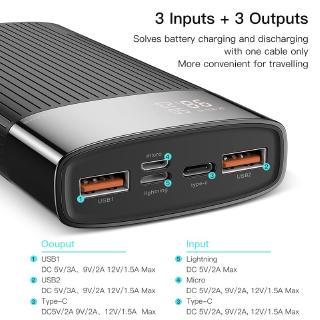 Hình ảnh Sạc Dự Phòng KUULAA 20000mAh USB 3.0 Sạc Nhanh Cho Iphone Huawei-2