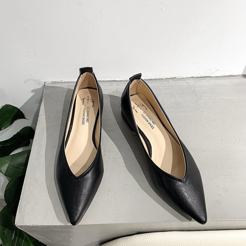 Giày Bệt Nữ, Giày Đế Bằng Mũi Nhọn Đế Thấp, Giày Da Thông Thường Để Đi Làm