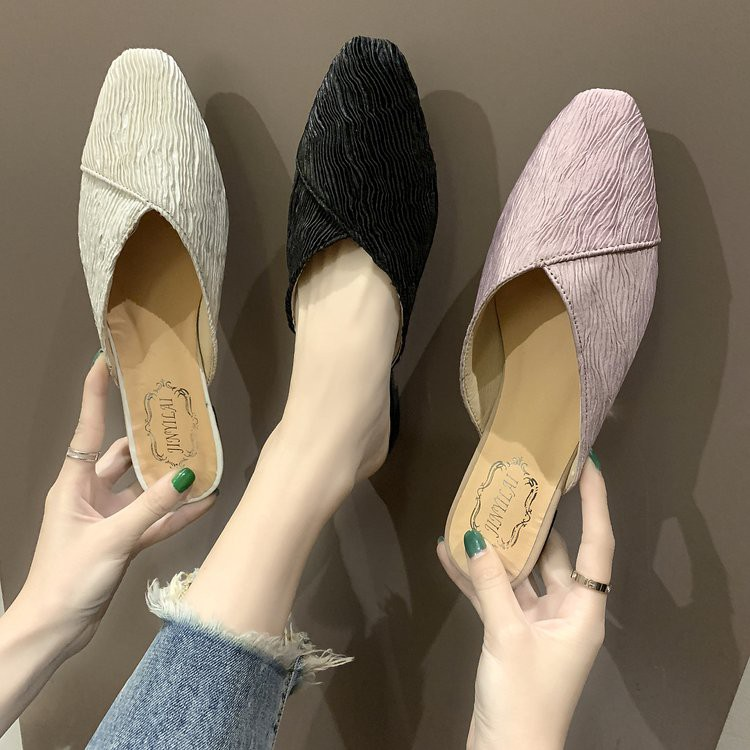 Baotou half slippers female summer 2019 new flat flat with retro square head grandma shoes wild fairy sandals and slippe