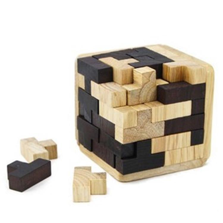 ●Funny 54Pcs Tetris Cube Brain Teaser Magic Wooden Intelligence Game 3D