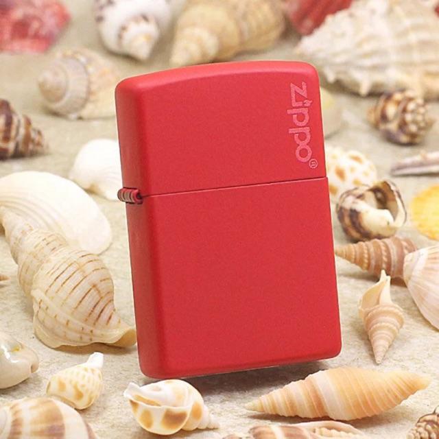 Bật Lửa Zippo Red Matte with Logo 233ZL - Hàng Chính Hãng Mỹ