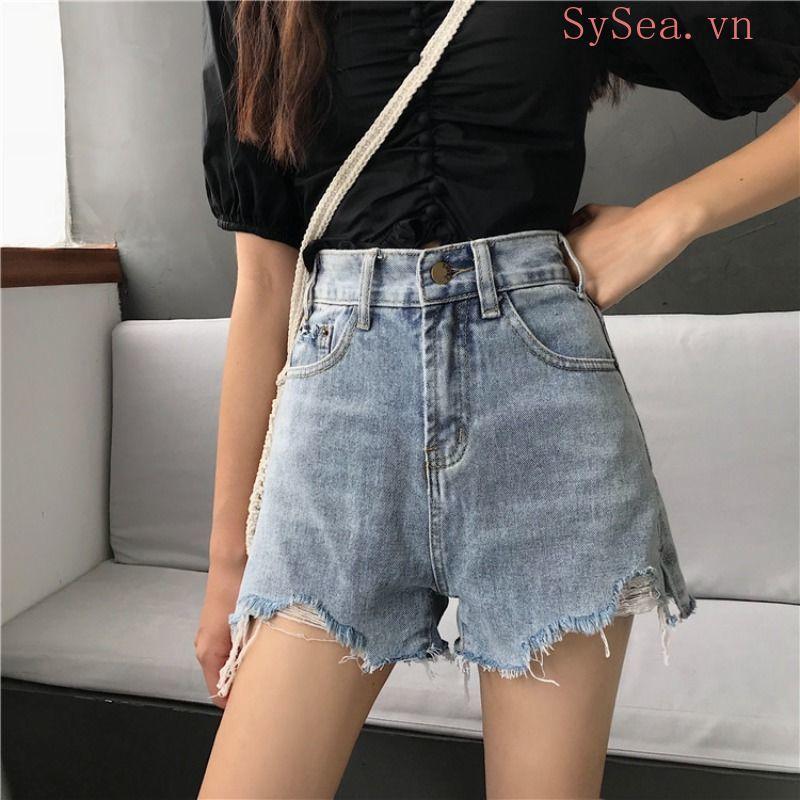 Quần Short Jeans Lưng Cao Phong Cách Hàn Quốc Thời Trang Cho Nữ