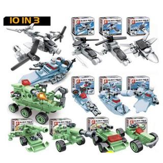 FULL SET ĐỒ CHƠI LẮP RÁP KIỂU LEGO 10 MÔ HÌNH XẾP HÌNH BLOCK GOLD 10 IN 3
