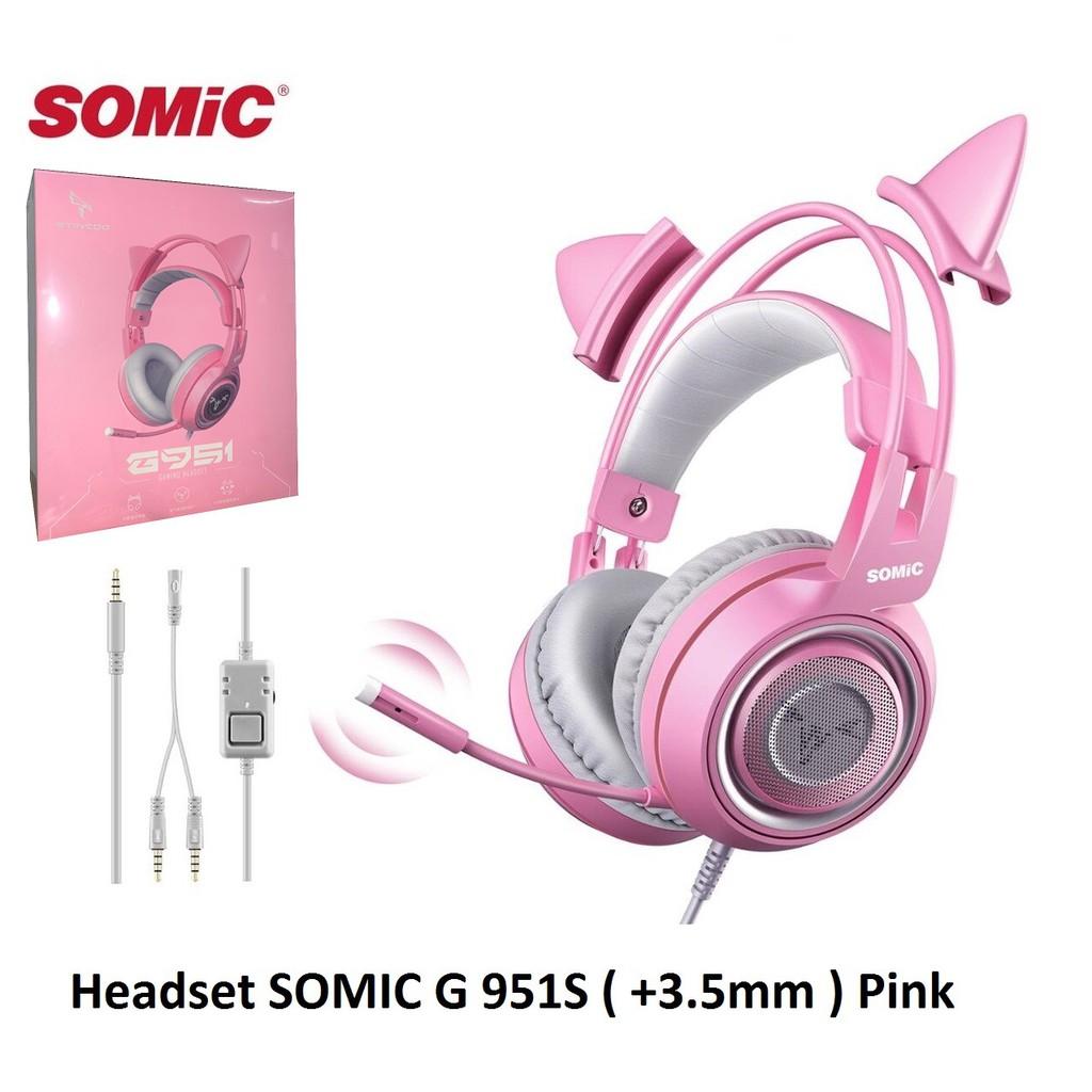 Tai nghe tai mèo Somic G951 màu hồng
