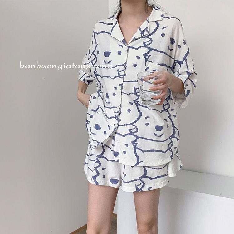 Mặc gì đẹp: Mát mẻ với bộ ngủ mặc nhà, bộ pijama mặc nhà unisex hình gấu hai màu dễ thương