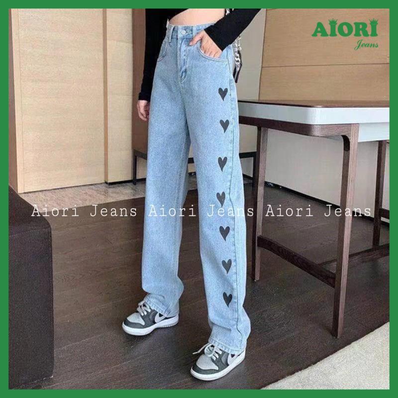 Quần Jeans Nữ - Quần Jean Ống Suông Lưng Cao, Jeans Ống Rộng Cao Cấp, Họa Tiết In Trái Tim Đen, Vải Mềm Mịn, Thoáng Mát