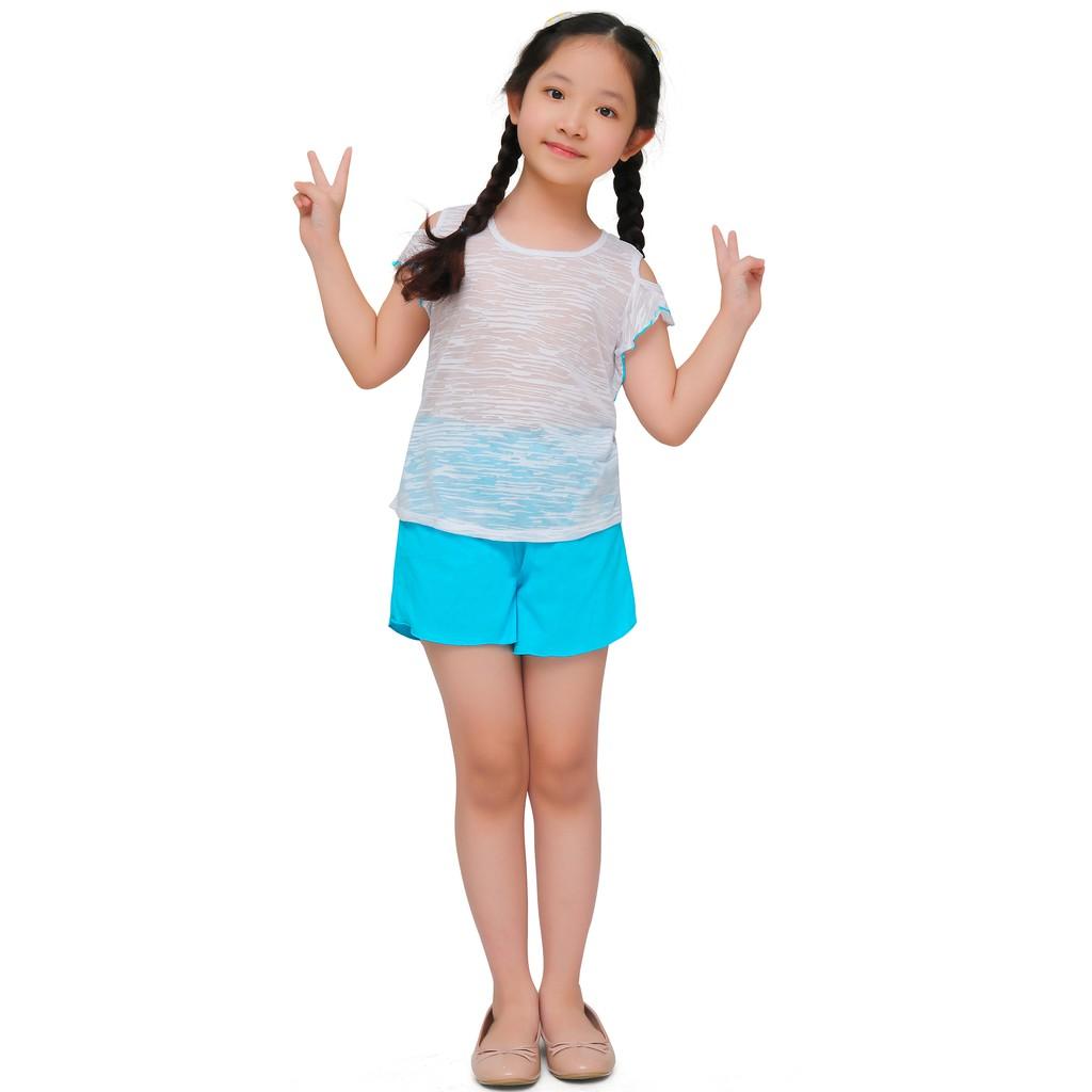 Bộ đồ hè bé gái mùa hè Narsis KM0016 màu trắng phối quần xanh ngọc