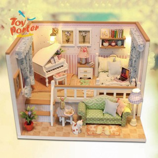 3D Wooden Craft Doll House Furniture DIY Miniature Dust Cover Dollhouse Toy