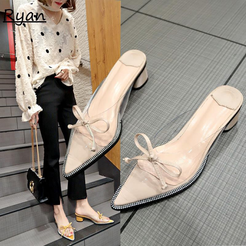 Slippers female summer wear sexy transparent sandals and slippers pointed bow wi