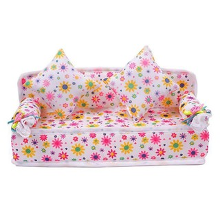 Mini Furniture Flower Couch +2 Cushions Barbie Doll Toys