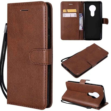 For Motorola Moto E5 G6 Play E 5th Flip Simple Leather Wallet Cell Case