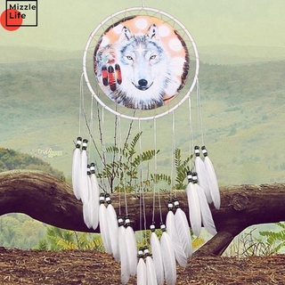 Mizzle Craft Handmade Wolf Dream Catcher Feather Bead Wall Car Hanging Ornament Home Decoration Wind Chime