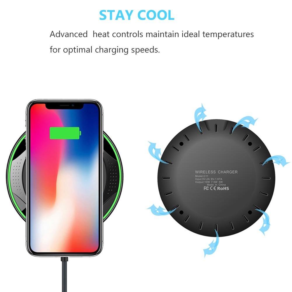 Đế sạc nhanh không dây 10W Qi tương thích iPhone Xs MAX Galaxy Huawei S9 S8 P20 P30 kèm cáp USB